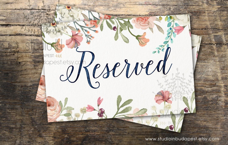 Reserved Sign Printable Wedding Reserved Sign Floral