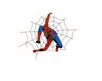 3 X 2.5 inch SPIDER-MAN super hero shooting spider web glitter Heat Iron On TRANSFER - Peter Parker costume