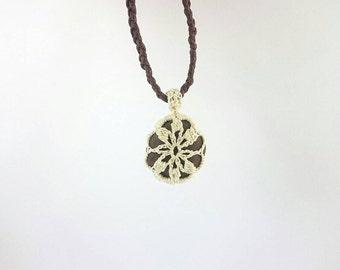 "River Stone Pendant - ""Stoneflake"" - White crochet & chocolate brown stone pendant with dark coffee adjustable cord"