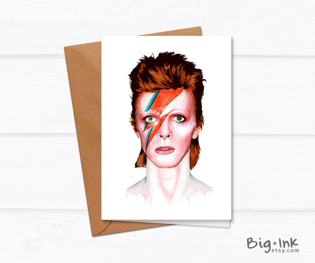 David Bowie Greeting Card Ziggy Stardust Colorful By BigInk
