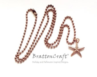 Antiqued Copper Starfish Necklace - Copper Starfish Necklace - Sea Star Necklace - Copper Beach Necklace - Fromia monilis