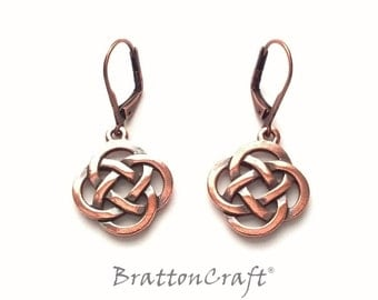 Copper Celtic Knot Earrings - Celtic Earrings - Irish Earrings - Scottish Earrings - Copper Celtic Jewelry - Epsteam