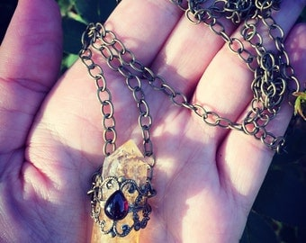 Double Terminate Citrine Point and Garnet Filigree Necklace