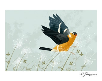 The Goldfinch — Art Print, Bird, Birds, 8 x 10, Nursery Art, Children's Room, Kids Room, Nature, Wildlife