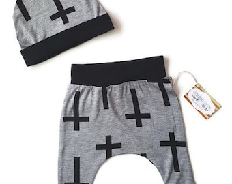 Baby boy gothic harem pants and beanie set, baby pant set, trendy baby boy clothes, harem pants with crosses, hipster baby, baby gift