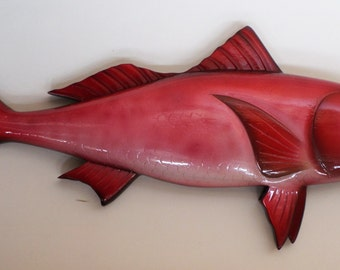 Painted Wood Carving, Fish Carving, Queen Snapper 23 Inches Long Wall Mount Home Decor