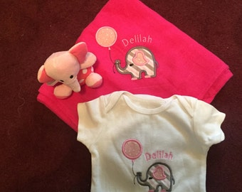 Elephant applique onesie and blanket