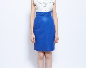 Vintage Lined Genuine Leather Skirt in Electric Blue Featuring fitted Ruched Waist and Centre Back Zip