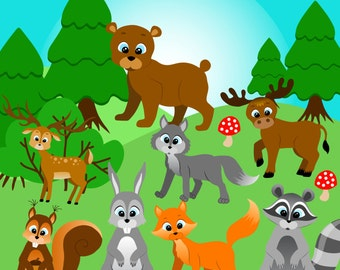 Forest animals clipart, Forest clip art, Woodland Clipart, Woodland Animal Clipart, Wood animals clipart, Fox clipart, Wolf clipart