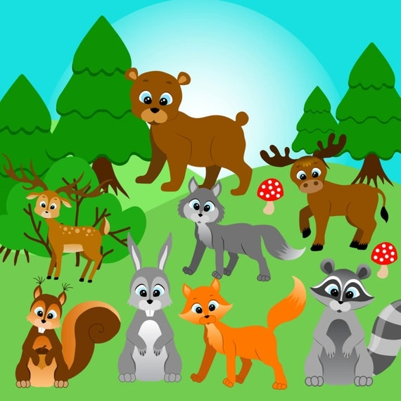 Forest animals clipart Forest clip art Woodland Clipart