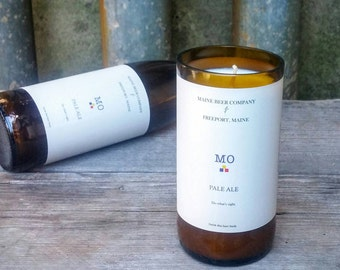 Maine Beer Company Recycled Scented Candle - Upcycled Glass Bottle Decor