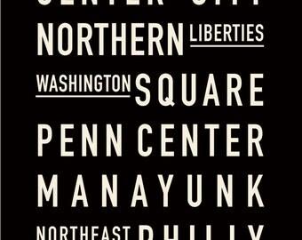 12x18 Philadelphia Neighborhoods Typography Print, Black and White, Subway Sign - Printable Poster, Wall Art, Home Decor, Gift Item