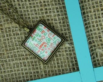 Christmas cheer square glass vintage pendant antique bronze necklace