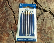 A Pack of Leather Hand Sewing Needles, 6 pcs Golden Eyes Sewing Needles For Lether Handworking, Crewels, 7cm long, 6 needles in each package