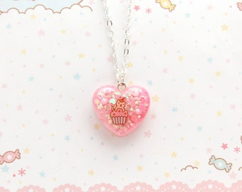 Sparkly Pink Cat Necklace - kitty necklace, kawaii necklace, fairy kei necklace