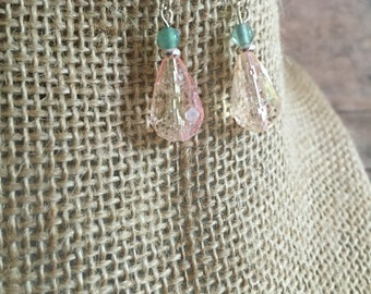 Pink dangle earrings, pink teardrop earrings,