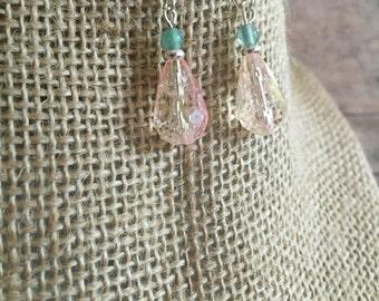 Pink dangle earrings, pink teardrop earrings,