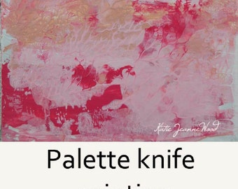 Art on Sale. Pink Acrylic Abstract Painting. Miniature Art for Her Dorm Room. 71