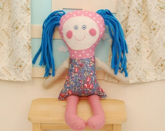 Baby Doll, Pink, Baby Toys, Gift for Newborn, Rag Doll, First Tender Doll, Stuffed Handmade Rag Doll for Baby, Pink Doll ,Retro Pink Doll