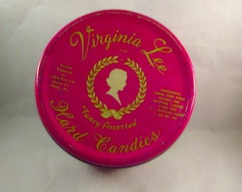 Vintage collectors Tin Can, Virginia Lee Hard Candy, Collectible Can, UP CYCLERS
