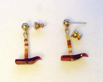 Brown bird earrings, bird earrings, earth tones, bird lovers jewelry, JeriAielloartstore, USA boho fashion, hippy fashion , made in America,