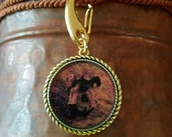 Airedale and Shadows on Vintage Map Key chain