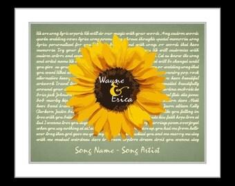 Sunflower wedding gift, unique anniversary gift, rustic wedding sunflower gifts, sunflower wedding decor 1st anniversary gift her wife paper