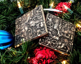 2 Steampunk Christmas Ornaments, Set of 2, Steampunk Gears & Gadgets, Christmas Tree Ornament, Steampunk Art, Holiday Steampunk Ornament Art