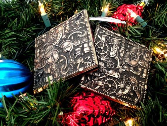 2 Steampunk Christmas Ornaments Set of 2 Steampunk Gears &