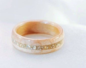 Wood Ring - Wooden Wedding Band - Gold Ring - Wood Rings For Women - Unique Wood Engagement Ring - Wood Ring Women - Wooden Ring