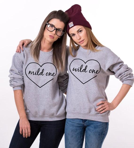 Mild one wild one, Wild one mild one, sweatshirts, Bff sweatshirts, Bff shirts, Set of two matching sweatshirts for best friends, UNISEX