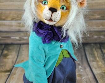 Teddy Bear Lion, OOAK 12 in, blue eyes