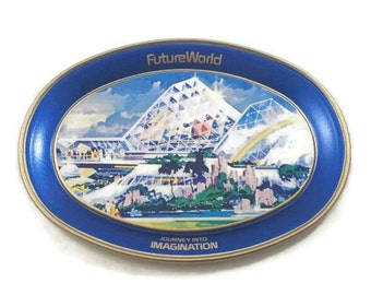 1982 Epcot Center FutureWorld Journey Into Imagination Collectible Mini Tray Walt Disney World Fabcraft Oval Metal Tray