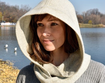 Ivory Wool Hood with fringed scarf, hooded scarf