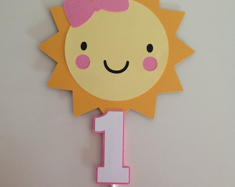 Girly Sunshine Cake Topper | Sunshine Party Decor | Girly Sunshine Smash Cake Topper | You Are My Sunshine Decor | Sun Party