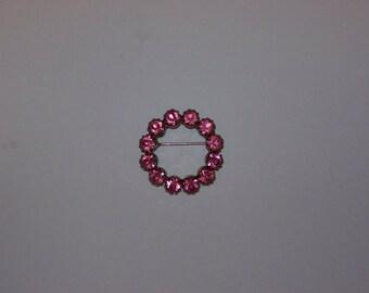 Pink Rhinestone Circle Pin Brooch
