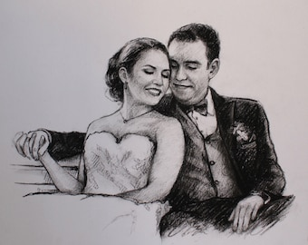 personalized wedding portrait for wedding - engagement - anniversary gifts wedding charcoal drawing