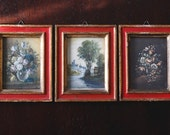 Vintage Wooden Red & Gold Italian Frames with Landscape Still Life Floral Oil Painting Fine Art Prints
