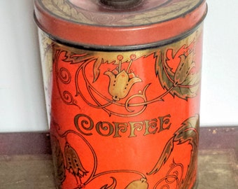 Vintage Art Deco Coffe Tin