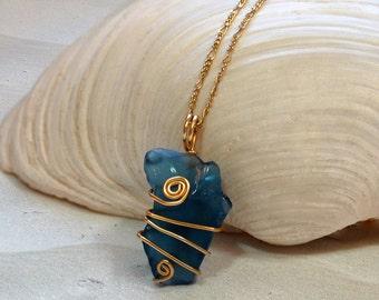 Sea Glass Necklace - Blue Sea Glass Jewelry - Beach Glass Jewelry - Beach Necklace - Ocean Jewelry - Beach Jewelry - Seaglass Jewelry