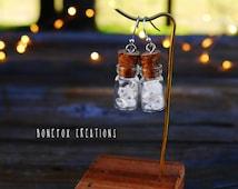 Quartz crystal earrings, Tiny jar earrings, small crystal glass jar earrings, quartz crystal stone earrings, dangle  drop jar cork earrings