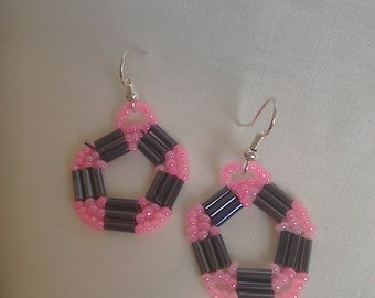 Black and pink Native American style earrings