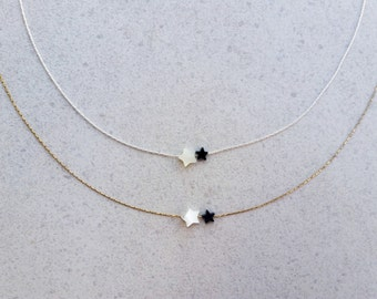 tiny star choker, star necklace, dainty choker, delicate necklace, vermeil gold, sterling silver, gift under 15