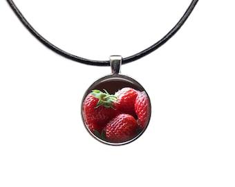 Berry necklace Fruit jewelry Strawberries pendant