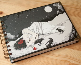 "Paper pad ""Snow White"" fantasy colour pages, white pages , for drawing, witch, 150 pages, big, sketchbook, steampunk, notebook, perfect gift"