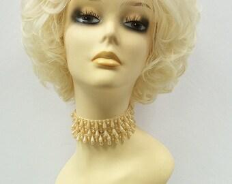 Light Blonde Curly Short Wig. Heat Resistant Wig. Elegant Big Fluffy Wig. [52-282-Dottie-613]