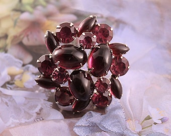 Vintage Weiss Brooch Amethyst Beauty, Signed WEISS | 1950s Costume Jewelry Designer Pin