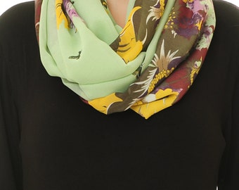 Floral Infinity Scarf | Floral Scarf | Chiffon Scarf | Lime Green Scarf | Mint Scarf | Spring Scarf | Summer Scarf (S-07)