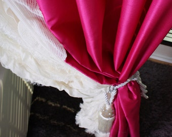 Eye Catching Hot Pink Taffeta Decorative Drapery Curtain Panel