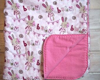 """Bunny Baby Blanket, Baby Blanket Girl, Baby Girl Comforter, Girl Nursery Bedding, Girl Crib Bedding, 39"""" x 47"""""""